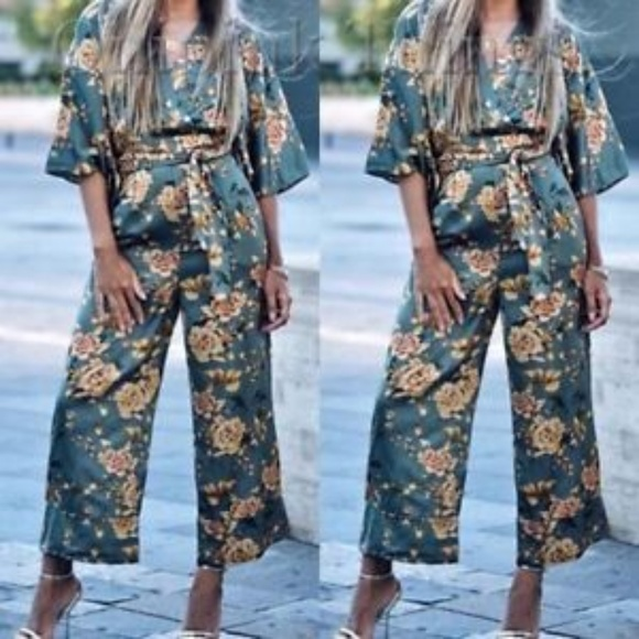 e895c881 Zara Pants | Printed Kimono Jumpsuit New With Tags | Poshmark